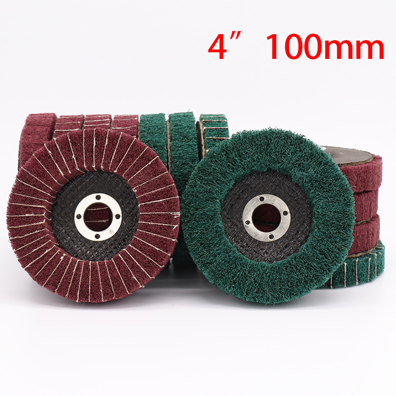 1Pcs 100mm Non-woven Flap Grinding Disc Nylon Polishing Wheel Bulgarian Angle Grinder Tools For Metal Polish Scouring Pad Green