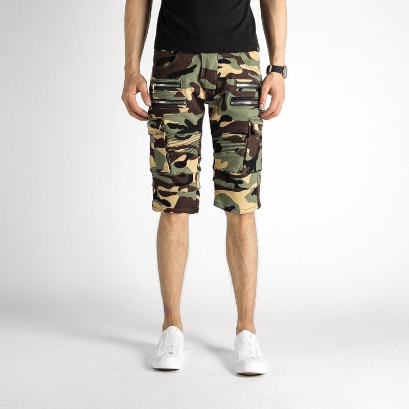 Men's Summer Camouflage Zippers Pleated Biker Jeans For Moto Casual Pockets Cargo Pants Denim Knee Length Shorts Denim Men idopy men s street style denim pants camouflage camo joggers stretchy drawstring biker cargo pants for hipster