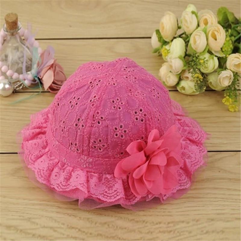 Newborn Baby Girls Boys Hollow Sun Cap Pure Color Lace Sunshade Summer Beach Bucket Flower Cute Fashion Hat стоимость