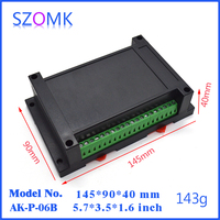 1 Piece Free Shipping Black Color Junction Din Rail Housing Case For Electronics 145 90 40mm