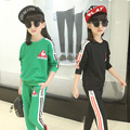 Children's clothing 2017 autumn cotton sportswear new girl long-sleeved triangle standard striped suit trousers + jacket