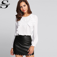 Sheinside 2017 Long Sleeve Ruffle Blouse White Round Neck Applique Front Frilled Cuff Button Top Women