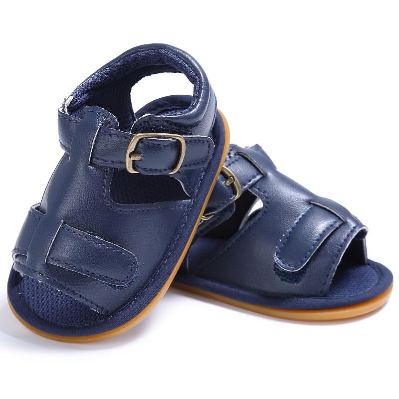 nouveau style 64059 66512 € 8.28  2017 nouveau Cool bleu marine en cuir souple bébé garçon plage  sandales bébé fille été Prewalker semelle souple sandales en polyuréthane  ...
