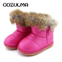 COZULMA Invierno Zapatos de Los Niños Niñas Botas de Nieve Caliente Super Felpa Antideslizantes de los Bebés Gancho y Lazo de Cuero de Invierno Botines