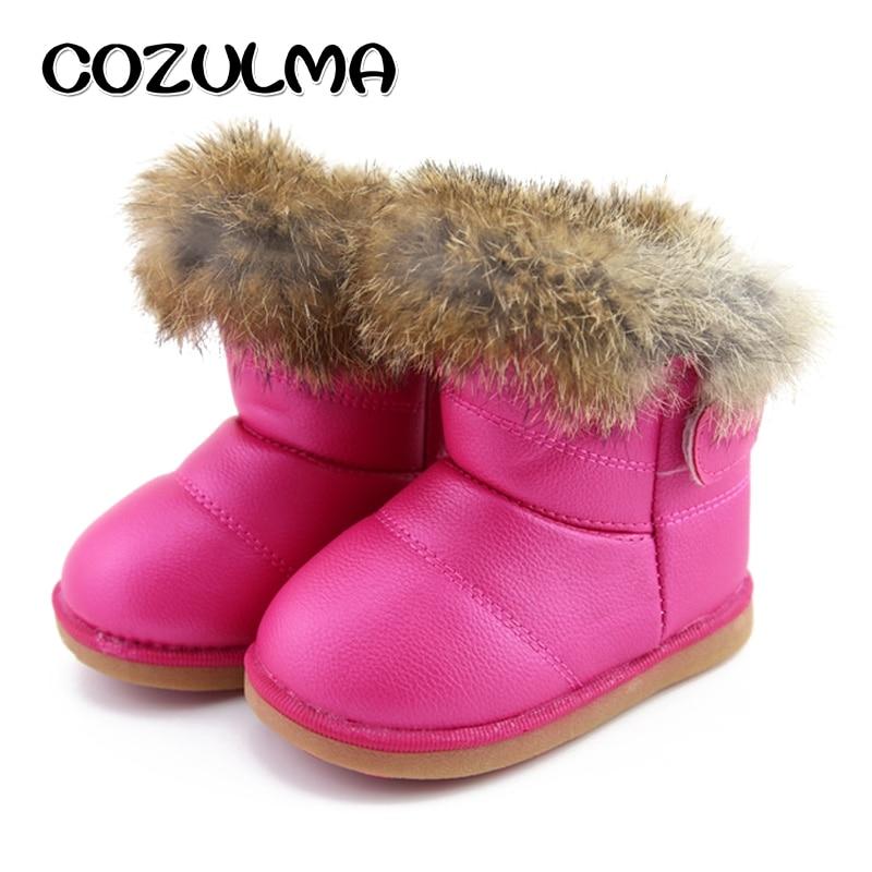 COZULMA الشتاء الأطفال أحذية الفتيات أحذية الثلج سوبر دافئ أفخم عدم الانزلاق طفل الفتيات هوك وحلقة الجلود أحذية الشتاء الكاحل
