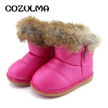 COZULMA Winter Children Shoes Girls Snow Boots Super Warm Plush Non-Slip Baby Hook & Loop Leather Ankle