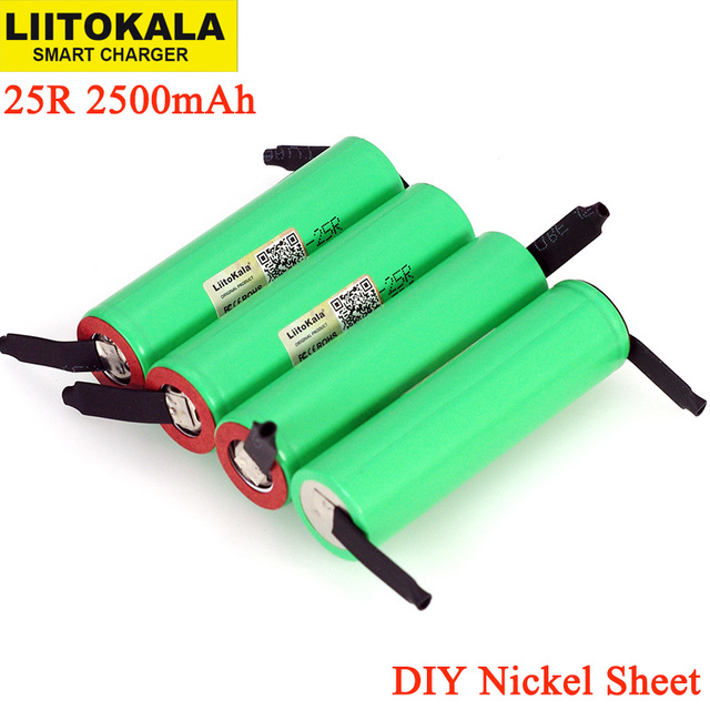 LiitoKala New Original 3.7V 18650 2500mAh battery INR1865025R 3.6V discharge 20A dedicated batteries + DIY Nickel sheet
