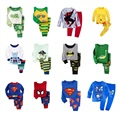 Hot Sale Boys Pajamas Suit Girls Sleepwear Sleep Suits Kids T-shirts Pants Children pyjama 100% COTTON Tops Trousers home wear