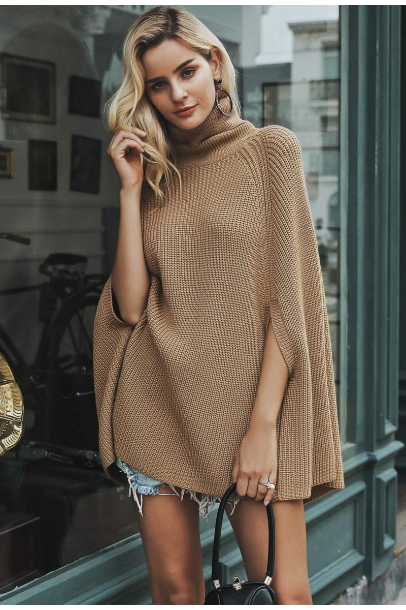 Women Knitted turtleneck cloak sweater 17