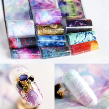 10pcs 4*50cm Starry Sky Nail Foil Galaxy Effect Transfer Sticker Paper Water Marble Art Decorations Manicure Tool