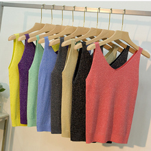 NEEDBO Summer Fashion Tank Top Vest Woman Vacation Casual Knitting Crop No Fading V-neck Solid Strap Slim Camis