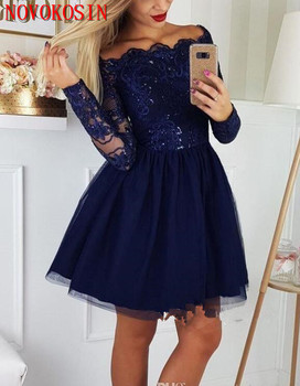 2019 Navy Blue Cocktail Party Dress Off the Shoulder A line Homecoming Dresses Long Sleeve Lace Applique Short Prom Dresses