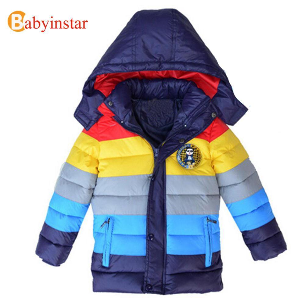 Top Quality Boys Striped Warm Down Coat: Children Boy Snow Wear Rainbow Color Hooded Jacket Padded 201 New Winter Kid Outwear