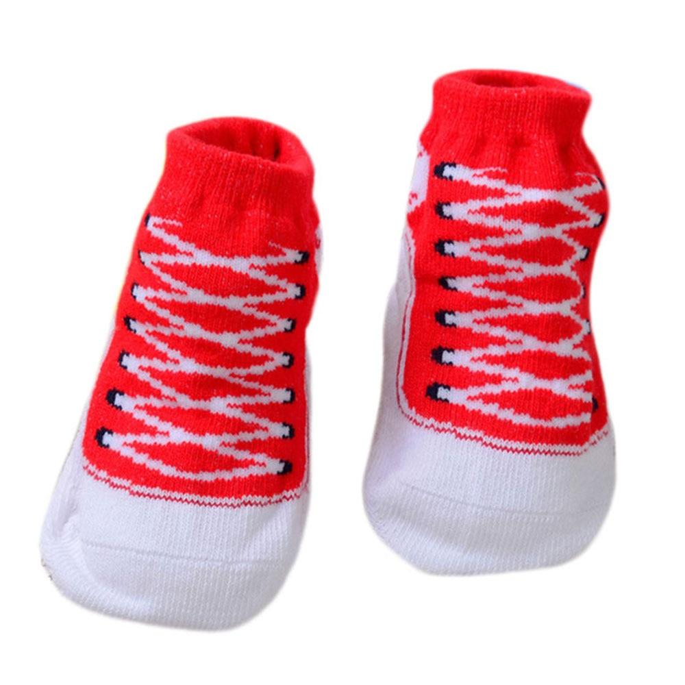 Хлопчатобумажные носочки для младенцев, обувь с 3D рисунком для малышей, яркие, креативные, милые, удобные - Цвет: red