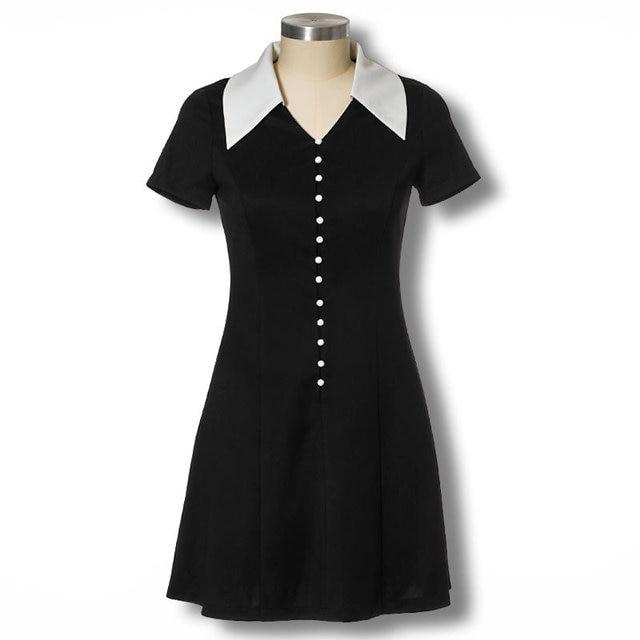 School Dress Black With White Collar Peter Pan Short Mini Skater