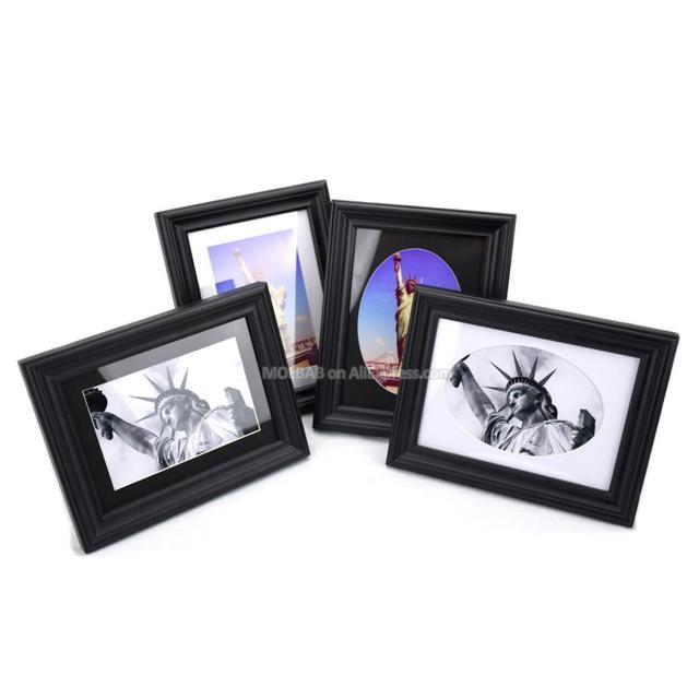 MOLBAB 7X5 pulgadas Tabletop madera negro marco de fotos de madera ...