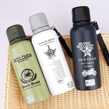 Botella de agua termo deportes de acero inoxidable camuflaje al aire libre 450ML bebida directa artículos en stock aislamiento térmico adultos