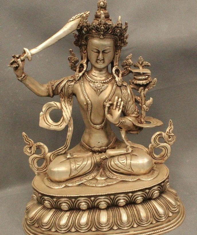 12 Tibet Buddhism Folk Silver Seat Boddhisattva Wenshu Manjushri Goddess Statue12 Tibet Buddhism Folk Silver Seat Boddhisattva Wenshu Manjushri Goddess Statue