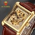 Brnd OUYAWEI Relógio Mecânico 2016 OUYAWEI marca Homens Relógio de Pulso Pulseira de Couro Auto Vento Esqueleto Relógio Para Homens