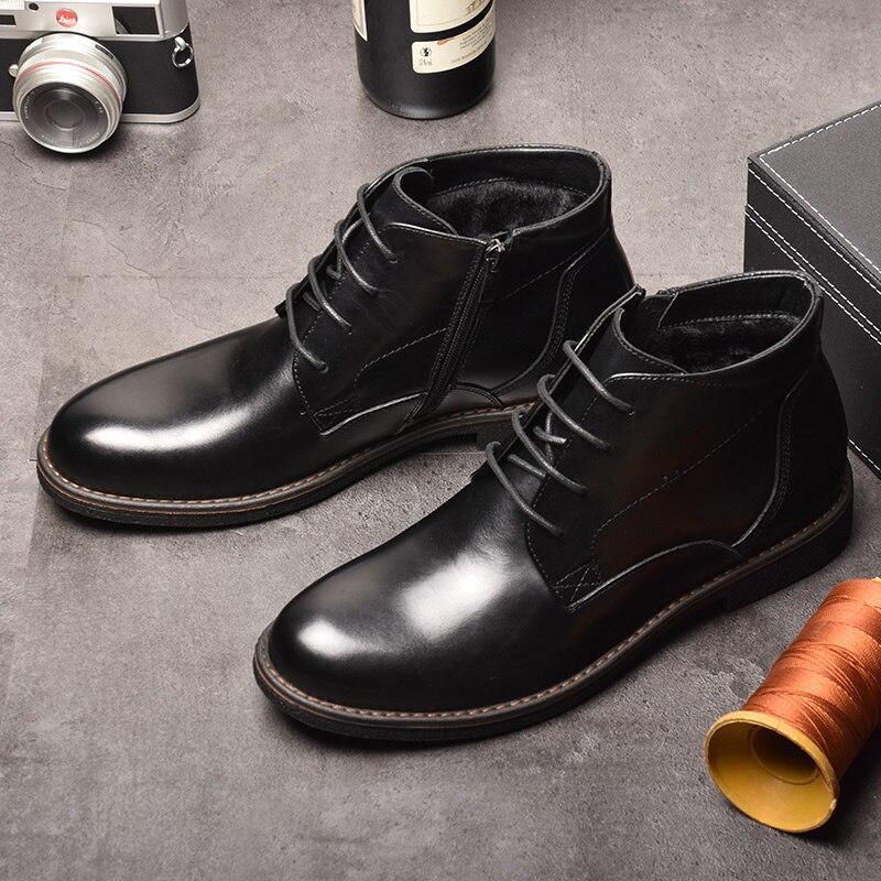OSCO 2019 botas informales de negocios zapatos de hombre de cuero genuino zapatos de moda para hombre Botas de invierno botas de tobillo para Hombre Zapatos de invierno-in Botas básicas from zapatos    3