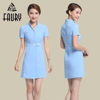 Women Summer Hospital Doctor Nurse V Neck Uniforms Short Sleeve Medical Clothing Beauty Salon Blue Purple Work Wear Dress