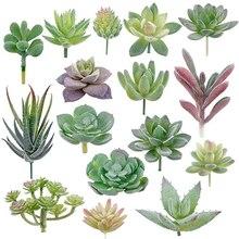 16 ชิ้น Succulent Flocking พืช Unpotted Mini Succulents ปลอมโลตัสภูมิทัศน์ตกแต่งสวน Arrange Decor