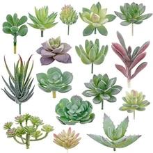 16 stücke Künstliche Sukkulenten Beflockung Pflanzen Unpotted Mini Gefälschte Sukkulenten Pflanzen Lotus Landschaft Dekorative Garten Arrangieren Decor