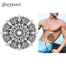 1 Sheet Temporary Inspired Body Tattoo Sticker KM-015 Sketch Kaleidoscope Rose Flower Pattern Tattoo Sticker Design For Body Art