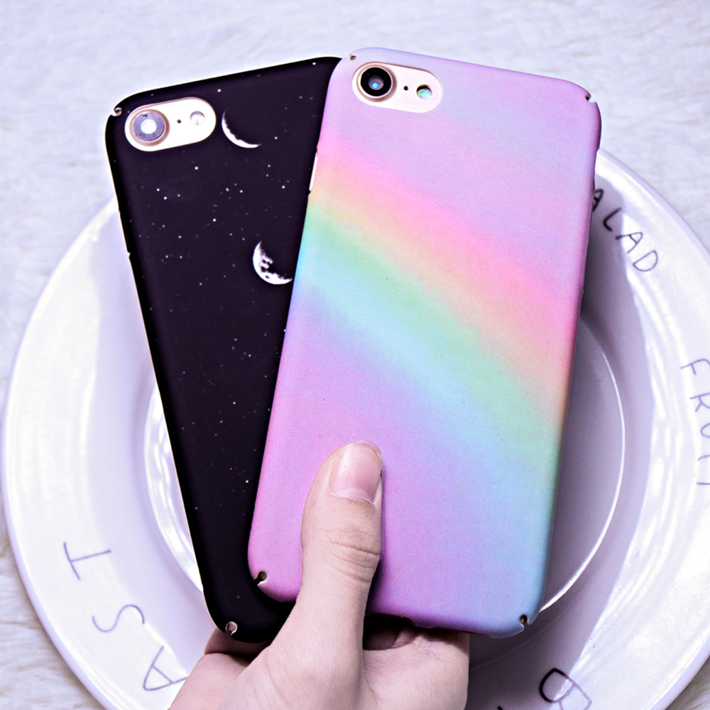 Galleria fotografica Gradient Rainbow Protection Phone Case For iphone 7 8 6 6S Plus Case Starry sky Hard PC Back Cover For iphone 6 6S Cases Fundas