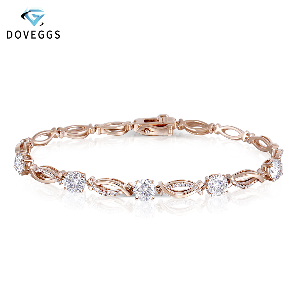 DovEggs Classic 14K 585 Rose Gold 2.68ctw F Color Moissanite Diamond Bracelets For Women Valentine Gift Ladies Bracelet