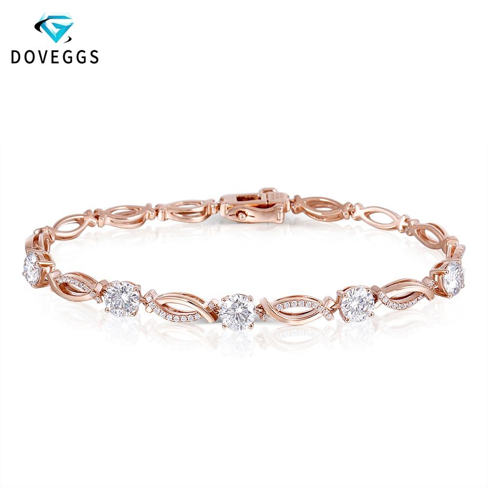 Palomas clásico 14 K 585 de oro rosa 2.68ctw Color F Moissanite diamante pulseras para mujeres regalo de San Valentín pulsera de las señoras