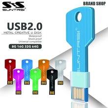Suntrsi usb flash drive 64 ГБ USB 2.0 Pen Drive 32 ГБ 16 ГБ 8 ГБ 4 ГБ pendrive водонепроницаемый Металлический Ключ Memory Stick Бесплатно доставка