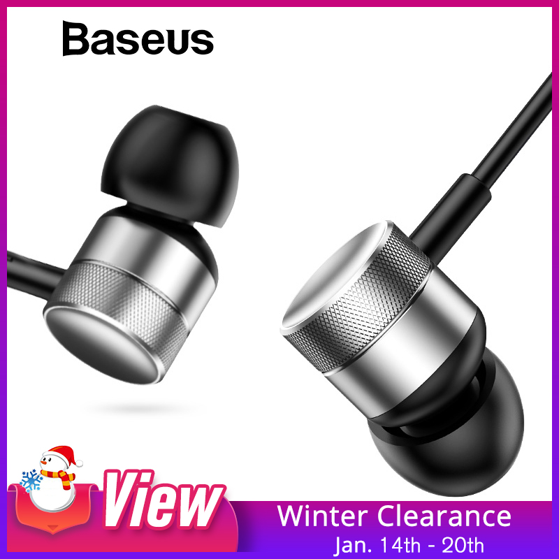 Baseus H04 Bass Sound Earphone In-Ear Sport Øretelefoner med mikrofon til iPhone iPhone Samsung Headset medfølger MP3