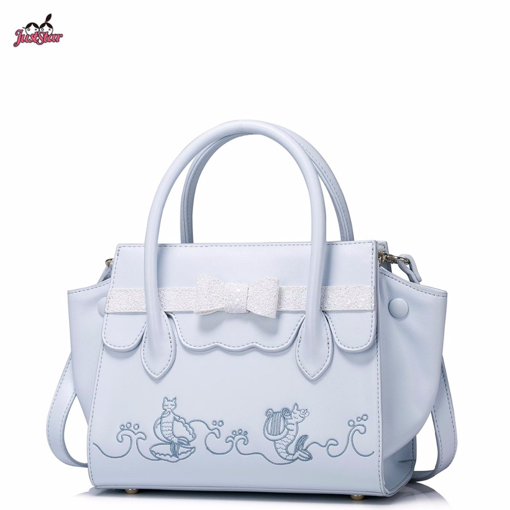 Just Star Brand New Design Fashion Cat mermaid Embroidery Bow PU Women Leather Girls Ladies Handbag Shoulder Bag Cross body Bags just star brand new design fashion mermaid printing pu leather women handbag girls shoulder bag cross body small round bag