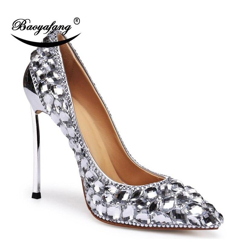 9bc87ccb1f Casamento Mulher Moda Dedo Baoyafang Apontado Altos Cristal Salto Prata  Sapatos Noiva Fino Da Metal Doce ...