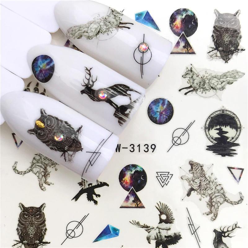 LCJ 1 шт стикер для ногтей с водной наклейкой животное цветок растение шаблон 3D Маникюр Стикер дизайн ногтей украшение - Цвет: YZW-3139