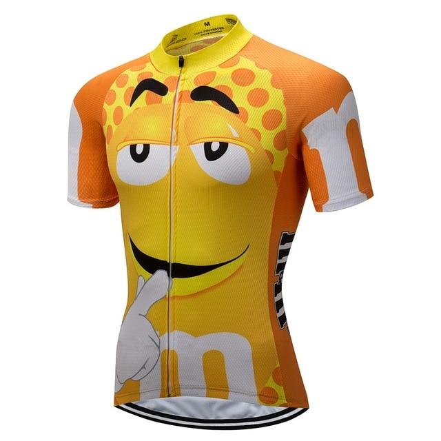 CUSROO 2018 new man short-sleeve cycling jersey custom made guy yellow mtb bike  jersey cycling clothing cartoon funny jersey b8c85cc58
