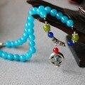 8 мм синий нефрит бусины браслет ваджра бодхи лаки кулон женское ювелирные изделия браслет многослойные цепь ожерелье натуральный камень