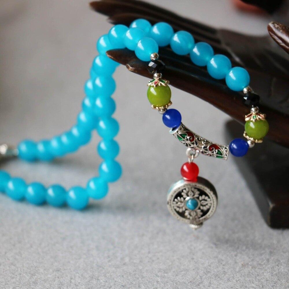 84ac9cb86a28 Accessoire Artisanat Pièces 8mm Bleu Calcédoine Bracelet Vajra Bodhi  Chanceux Pendentif Femme Bijoux Bracelet Multicouche Chaîne Collier