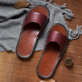Leather slippers autumn women flat heel home indoor slides slip-resistant floor lovers slippers