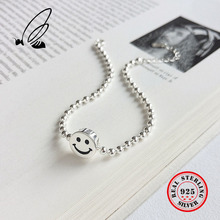цена на 925 Sterling Silver Smile Emoji Smile Round Lucky Beads Chain Bracelet Bangle Adjustable Charm Wrist Cuff Brcelet Fine Jewelry