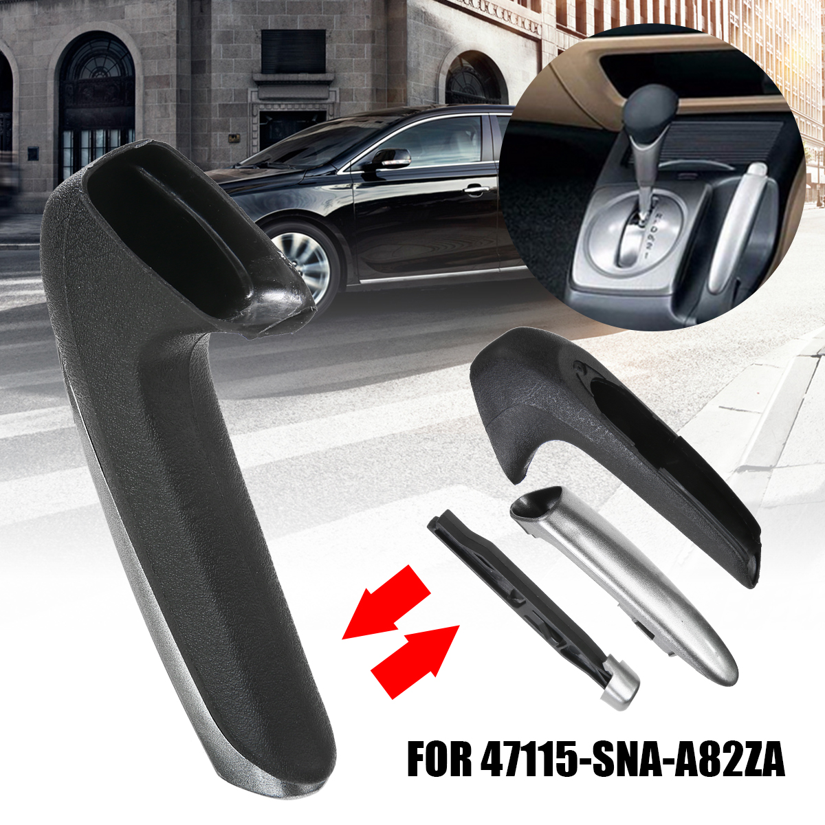 Mayitr 1pc Parking Brake Handle Dedicated Replacement Handle Cover For Honda Civic 06-11 47115-SNA-A82ZA/47125-SNA-A82ZB
