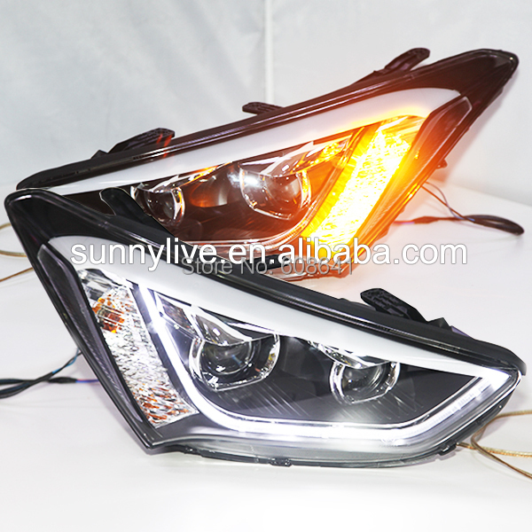 2013-2014 Year for Hyundai New Santa Fe ix45 LED Strip Head Light with Bi Xenon Projector Lens TLZ santa fe full led tail light for hyundai 2007 2012 year red smoke color