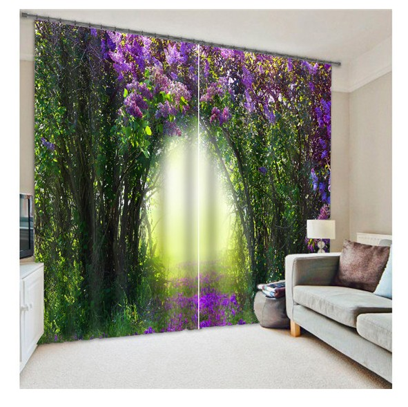 Blackout Curtains 3D Curtain Set For Bedroom, Living Room Window Drapes  Green Light Floral Whimsical