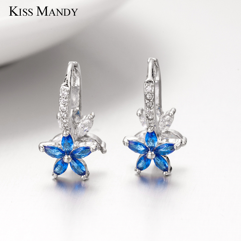 KISS MANDY Romantic Silver Flower Dangle Earring For Women Light Pink Yellow Aqua Blue Cubic Zirconia Jewelry Accessories KLE03