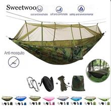 Portable 1-2 Person Camping Hammock With Mosquito Net Ultralight Hanging Bed Strong Bearing Tree Tent Swing Sleeping Lazy Bag super strength folding nylon hammock hanging swing hamak beach camping patio sleeping tree bed with 2 strap 2 carabiner