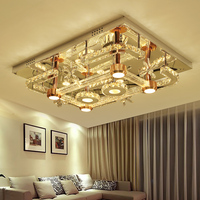IWHD K9 Crystal Ceiling Lights Stainless Steel Plafonnier LED Modern Ceiling Lamp Bedroom Home Lighting Fixtures