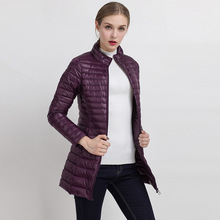 Autumn and winter The New Light and thin Long section Slim Stand collar Large size Down jacket