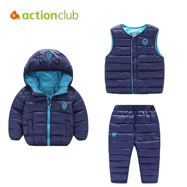 Actionclub Roupas de Bebê Definir 3 pcs Casaco Calças Colete Crianças Jaqueta de Algodão Com Capuz Crianças Meninos Meninas Inverno Quente Outerwear Terno conjunto