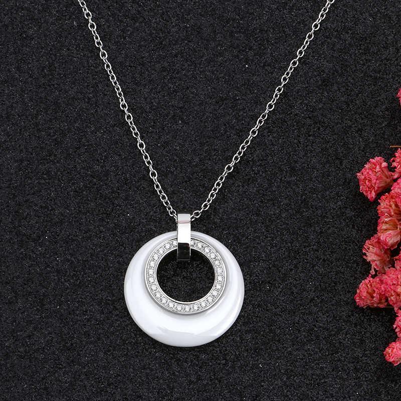 Baru Kedatangan Beberapa Zircon Keramik Kalung & Liontin untuk Wanita Perhiasan Lingkaran Ganda CZ Wedding Chokers Kalung Wanita Hadiah